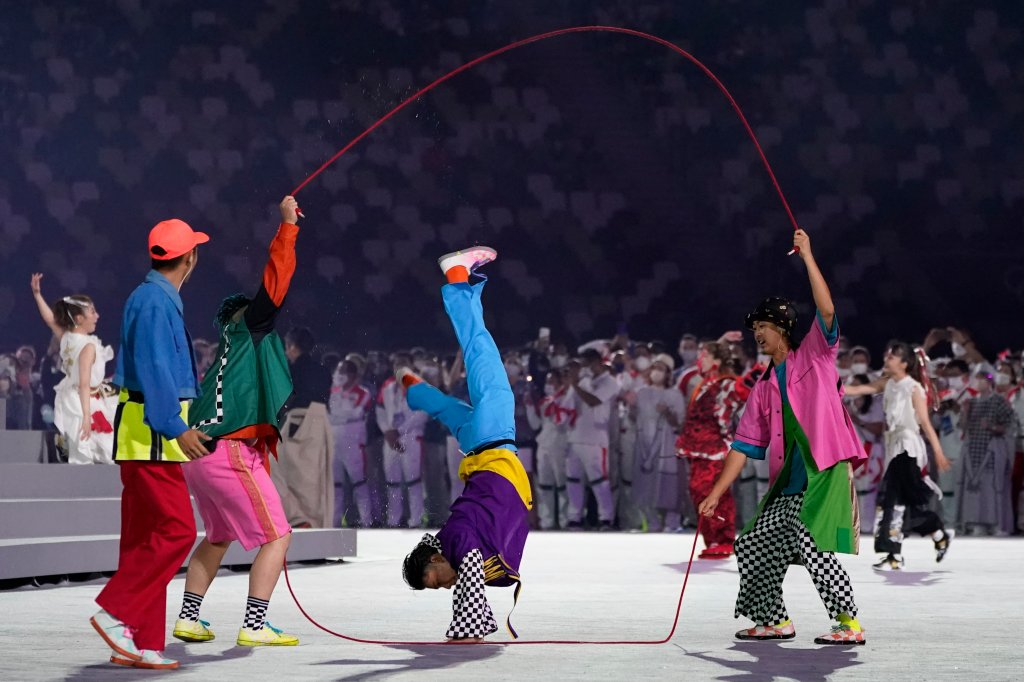 Dancers perform during the closing ceremony in the Olympic Stadium at the 2020 Summer Olympics, Sunday, Aug. 8, 2021, in Tokyo, Japan.
