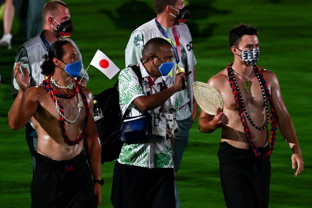 Athletes walk across the field during the closing ceremony of the Tokyo 2020 Olympic Games, on Aug. 8, 2021 at the Olympic Stadium in Tokyo.