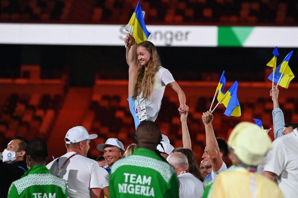 Ukraine's athletes gather on the field during the closing ceremony of the Tokyo 2020 Olympic Games, at the Olympic Stadium, in Tokyo, on Aug. 8, 2021.