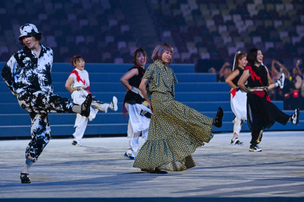 Performers dance during the closing ceremony of the Tokyo Olympic Games, at the Olympic Stadium, in Tokyo, on Aug. 8, 2021.