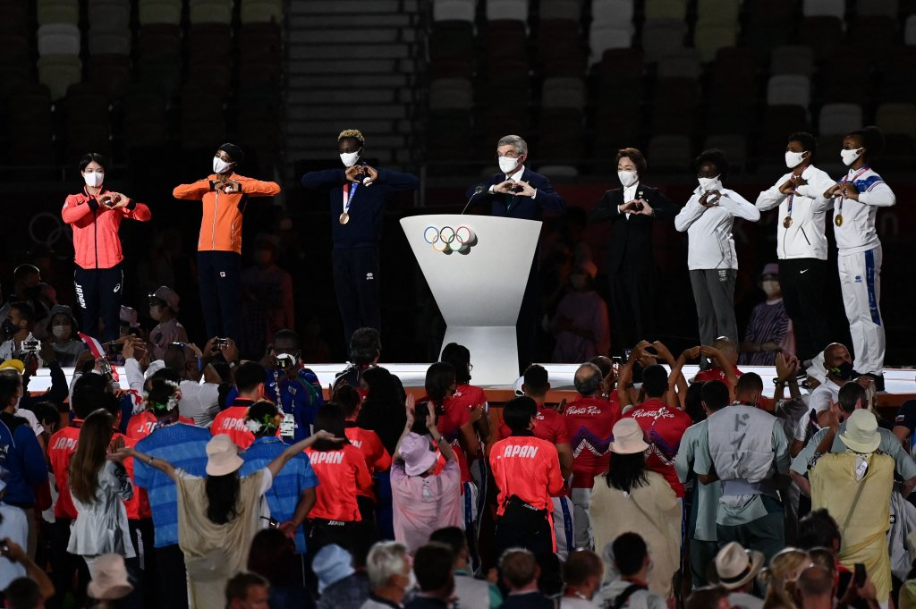 President of the International Olympic Committee (IOC) Thomas Bach (C) delivers a speech during the closing ceremony of the Tokyo 2020 Olympic Games, at the Olympic Stadium, in Tokyo, on Aug. 8, 2021.