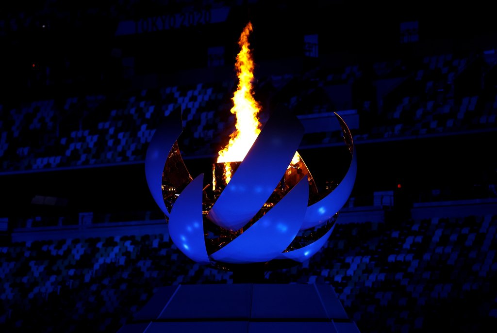 The Olympic Flame is seen during the Closing Ceremony of the Tokyo 2020 Olympic Games at Olympic Stadium on Aug. 8, 2021 in Tokyo, Japan.
