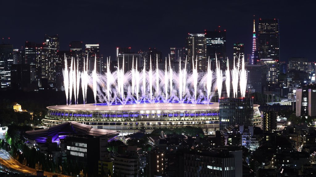 Fireworks are seen during the Closing Ceremony of the Tokyo 2020 Olympic Games at Olympic Stadium on Aug. 8, 2021 in Tokyo, Japan.