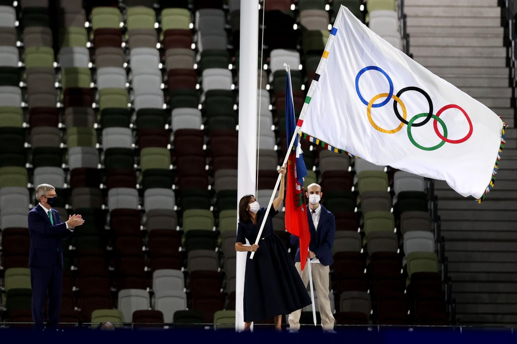 Mayor of Paris, Anne Hidalgo receives the olympic flag from President of the International Olympic Committee, Thomas Bach during the Closing Ceremony of the Tokyo 2020 Olympic Games at Olympic Stadium on Aug. 8, 2021 in Tokyo, Japan.