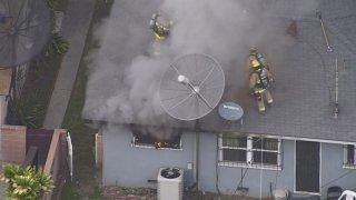 Long Beach house on fire