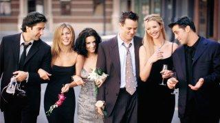 "Cast members of NBC's series ""Friends."" Pictured (L to R): David Schwimmer, Jennifer Aniston, Courteney Cox, Matthew Perry, Lisa Kudrow and Matt Leblanc."