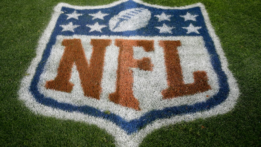 The NFL logo is seen prior to an NFL football game between the New England Patriots and the Denver Broncos, Sunday, Nov. 12, 2017