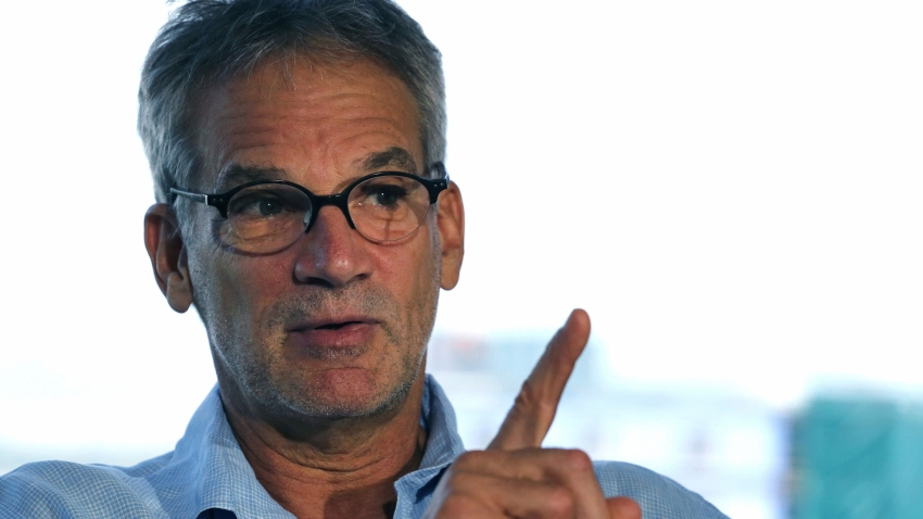 "FILE - In this Sept. 17, 2014 file photo, Colorado-based author Jon Krakauer gestures during an interview in Denver. Krakauer has filed suit over a musical adaptation of his 1996 book ""Into the Wild."" The Boulder Daily Camera reported Friday, Dec. 7, 2018. Krakauer originally agreed to let playwrights Nikos Tsakalakos and Janet Allard use his name and the book title but changed his mind because he objected to their script. (AP Photo/Brennan Linsley, File)"