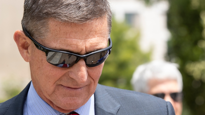 FILE - Former Trump national security adviser Michael Flynn leaves the federal courthouse in Washington, June 24, 2019.