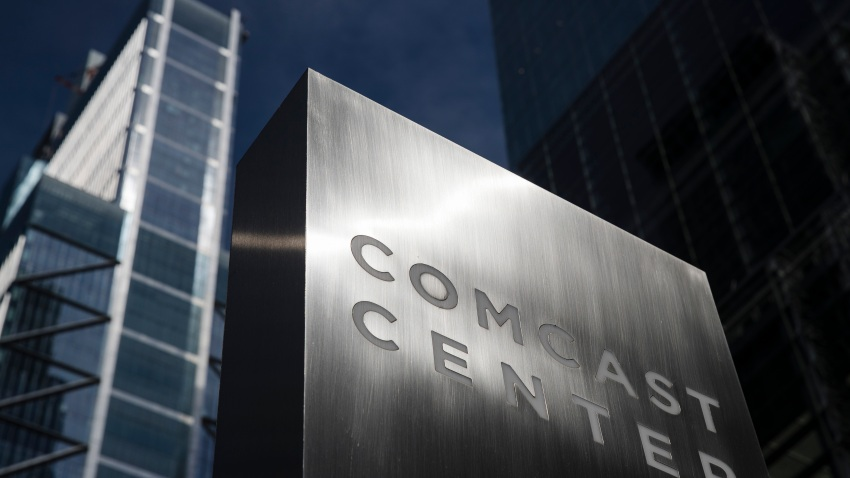 FILE- This May 21, 2018, file photo shows a sign outside the Comcast Center, which Liberty Property Trust built, in Philadelphia.