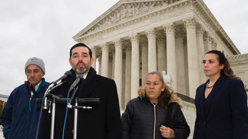Attorney Cristobal Galindo, second from left, speaks accompanied by Jesus Hernandez, left, and Maria Guereca, and attorney Marion Reilly in front of the Supreme Court
