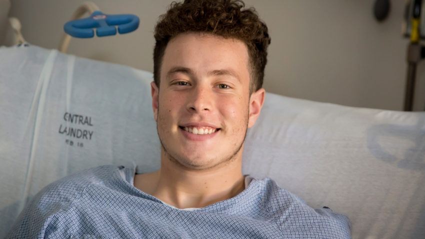 Nicolas Stacy-Alcantara, 17, of Fresno, California, seen at the University of Utah Hospital in Salt Lake City, where he is recovering after surviving a night alone on the Utah mountains.