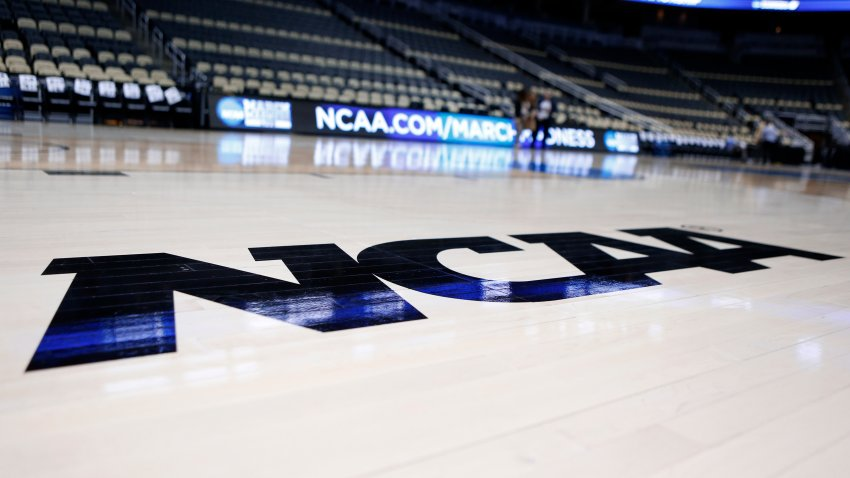 NCAA logo on the basketball court inside The Consol Energy Center in Pittsburgh