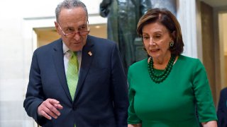 Senate Minority Leader Sen. Chuck Schumer, D-N.Y., and House Speaker Nancy Pelosi, D-Calif.,