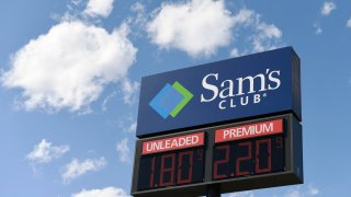 The price of gas is displayed on a sign at Sam's Club in Annapolis, Md., Monday, March 30, 2020.