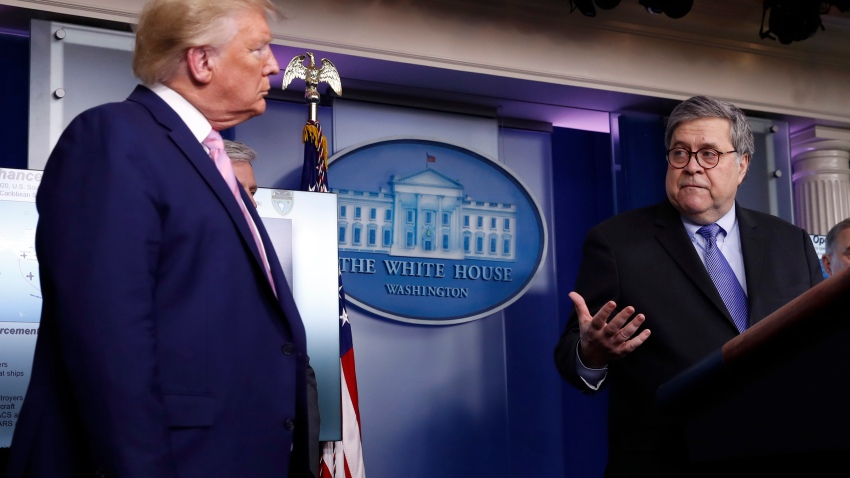 President Donald Trump listens as Attorney General William Barr speaks about the coronavirus in the James Brady Press Briefing Room of the White House, Wednesday, April 1, 2020, in Washington.