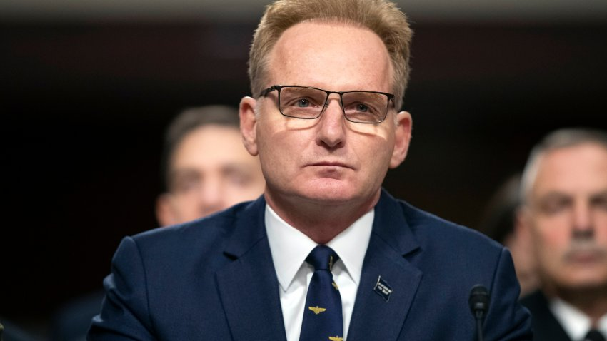 Former acting Navy Secretary Thomas Modly testifies during a hearing of the Senate Armed Services Committee