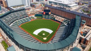 In this Thursday, March 26, 2020, file photo, Oriole Park at Camden Yards is closed on what would've been Opening Day in Baltimore, Md.