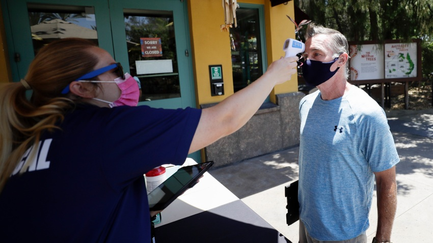In this June 11, 2020, file photo, health services worker Summer Deibert, left, checks the temperature of James McCluskey, right, as he arrives for work before the reopening of the San Diego Zoo in San Diego.