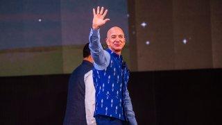 Amazon CEO Jeff Bezos at the company's annual Smbhav event at Jawahar Lal Nehru Stadium, Jan. 16, 2020, in New Delhi, India.