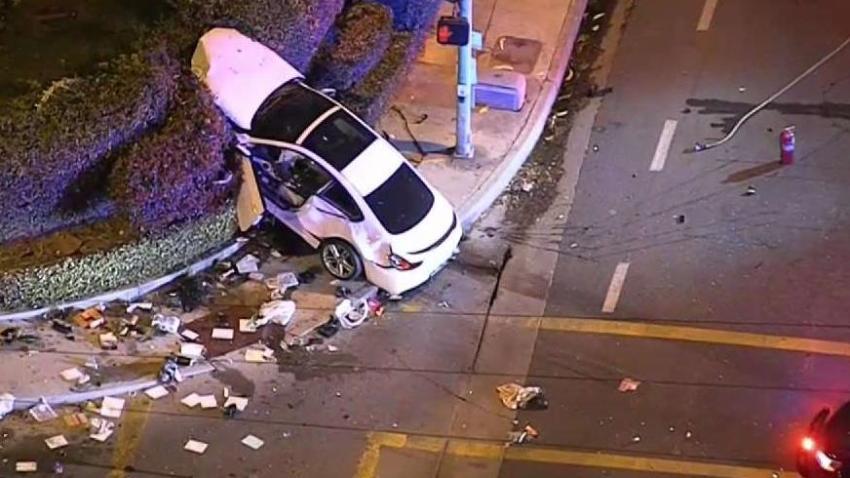 BMW_Ends_Up_in_Bushes_After_Pursuit_Crash