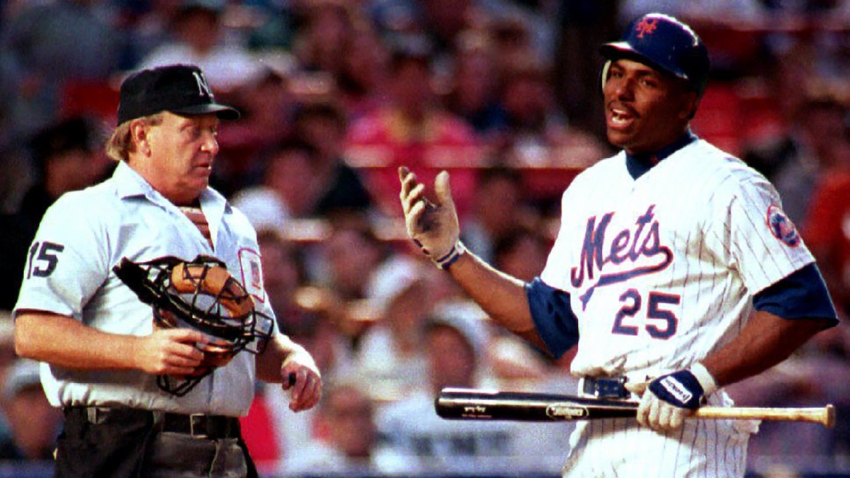 New York Mets' Bobby Bonilla argues a called third strike with umpire Gary Darling in the first inning of the May 10, 1993, game against the Florida Marlins.