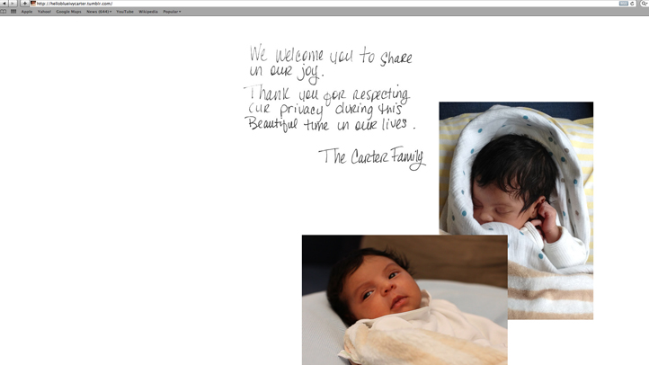 Blue Ivy Carter first photos