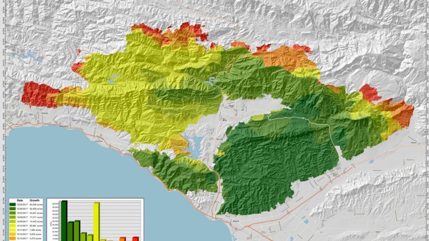Thomas Fire Map Ventura Map: How the Thomas Fire Grew Into One of California's Largest