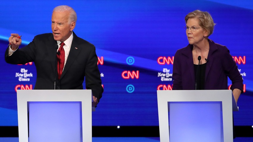 In this Oct. 15, 2019, file photo, former Vice President Joe Biden and Sen. Elizabeth Warren (D-MA) participate in the Democratic Presidential Debate at Otterbein University in Westerville, Ohio.