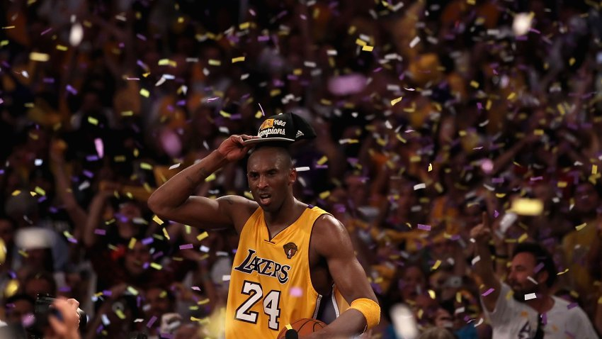 Kobe Bryant #24 of the Los Angeles Lakers celebrates