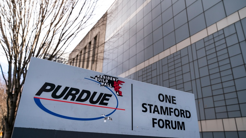 Purdue Pharma headquarters stands in downtown Stamford, April 2, 2019 in Stamford, Connecticut.
