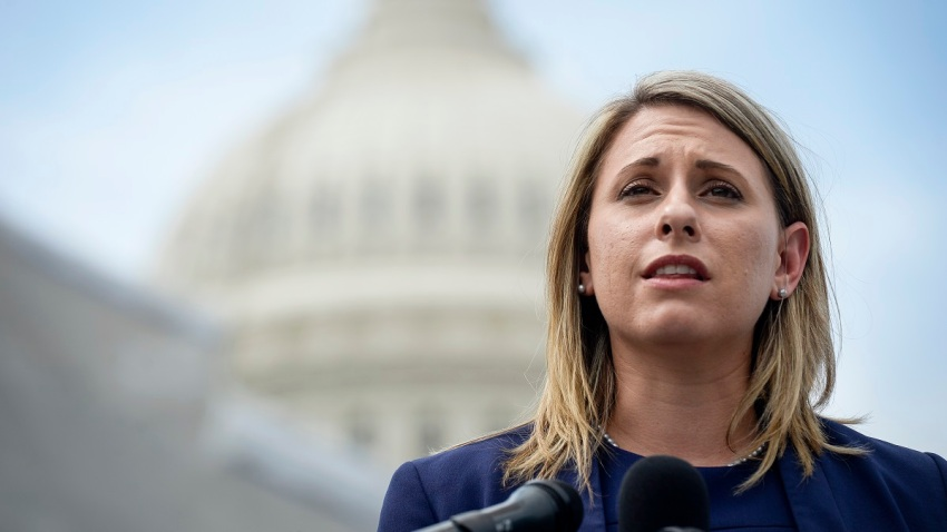In this June 25, 2019, file photo, Rep. Katie Hill, D-Calif., speaks at a press conference to introduce ACTION for National Service outside of the Capitol.