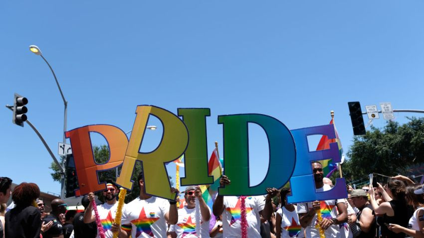 A general view of the 2019 LA Pride parade.