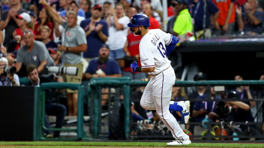 Joey Gallo of the Texas Rangers rounds the bases after hitting a solo home run in the seventh inning during the 90th MLB All-Star Game at Progressive Field on Tuesday, July 9, 2019 in Cleveland.