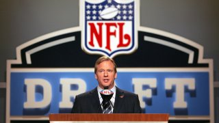 NFL Commissioner Roger Goodell hosting the NFL Draft