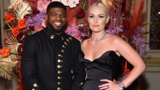 """In this Sept. 6, 2019, hockey player P.K. Subban and skier Lindsey Vonn attend as Harper's Bazaar celebrates """"ICONS by Carine Roitfeld"""" at the Plaza Hotel presented by Cartier in New York City."""