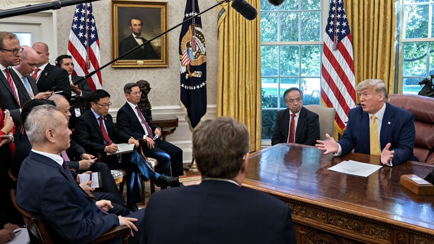 President Trump Meets Chinese Vice Premier Liu He At The White House