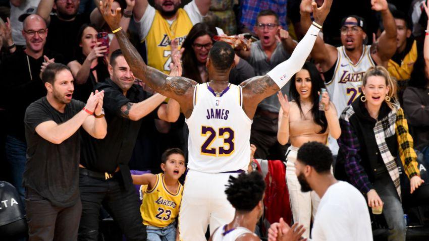 LeBron Celebrates With Fans