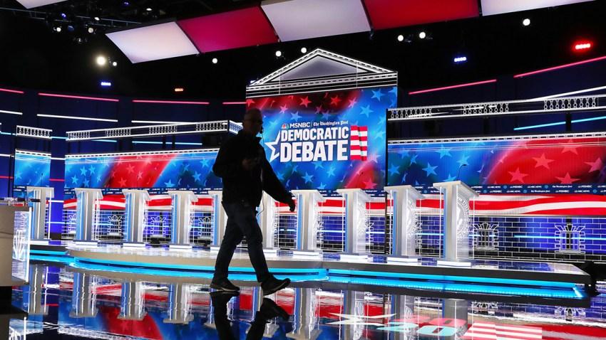 The debate stage is seen as it is prepared