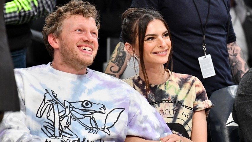 In this Jan. 13, 2020, file photo, Emily Ratajkowski and Sebastian Bear-McClard sit court side at a basketball game between the Los Angeles Lakers and the Cleveland Cavaliers at Staples Center in Los Angeles, California.