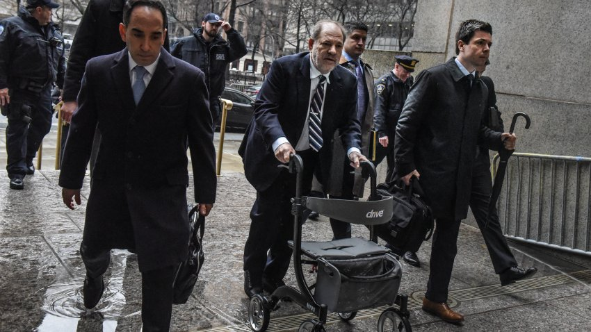 Movie producer Harvey Weinstein arrives for his sexual assault trial at New York Criminal Court on Feb. 13, 2020, in New York City. The weeks-long trial against Weinstein nears is end as prosecutors ready to give their closing argument on Friday.