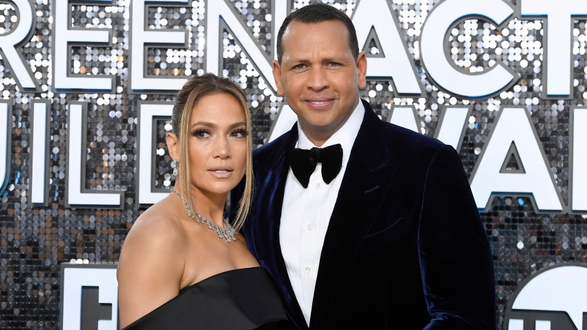Jennifer Lopez and Alex Rodriguez attend the 26th Annual Screen Actors Guild Awards at The Shrine Auditorium on Jan. 19, 2020, in Los Angeles.