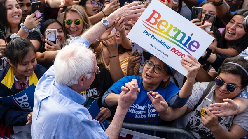 Democratic presidential candidate Sen. Bernie Sanders greets supporters during a campaign rally in Santa Ana, Calif.