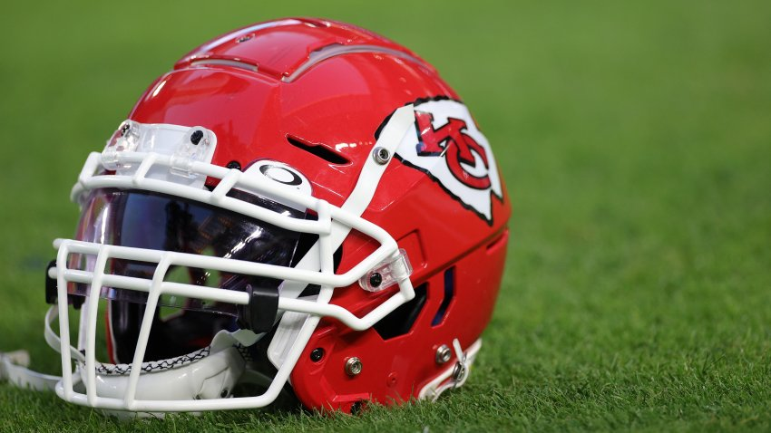 In this Feb. 2, 2020, file photo, a Kansas City Chiefs helmet is seen before Super Bowl LIV at Hard Rock Stadium in Miami, Florida.