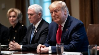 President Donald Trump leads a meeting with the White House Coronavirus Task Force