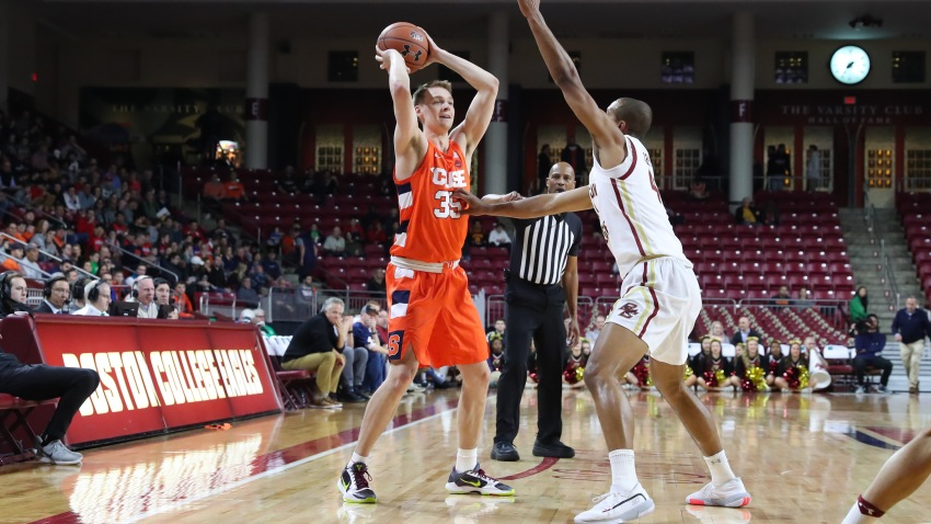 Syracuse Orange guard Buddy Boeheim (35) looks inside during the game between Boston College and Syracuse on March 3, 2020, at Conte Forum in Chestnut Hill, Mass.