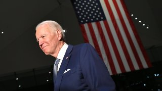 In this March 10, 2020, file photo, Democratic presidential hopeful former Vice President Joe Biden walks out after speaking at the National Constitution Center in Philadelphia, Pennsylvania.