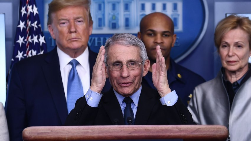 Anthony Fauci speaks at the podium