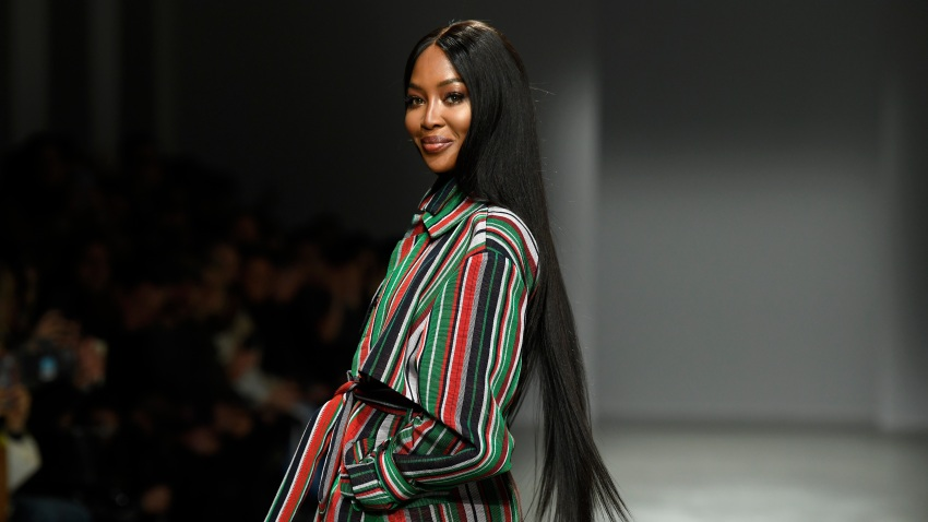 Naomi Campbell walks down the runway