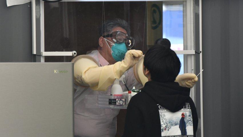 Medical staff member taking samples